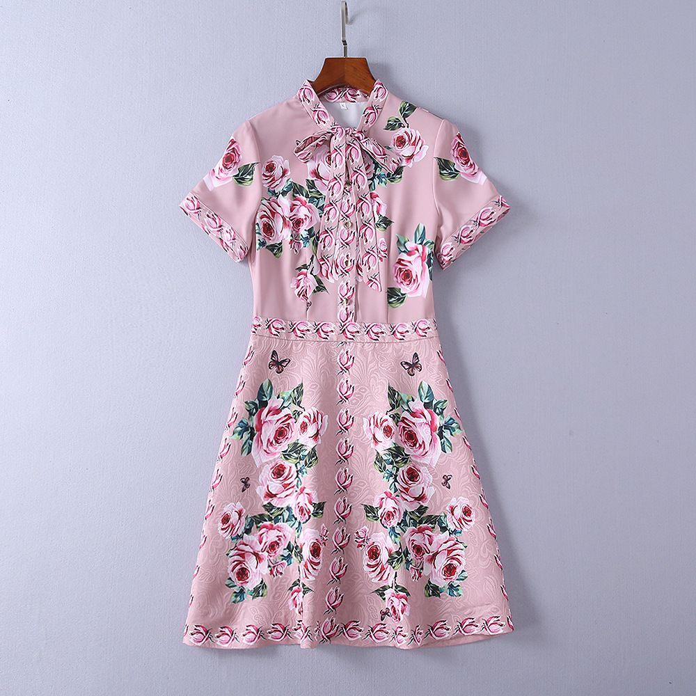 3ec9907baa7 Pink Floral Print Jacquard Short Sleeve Dress - Data Dynamic AG
