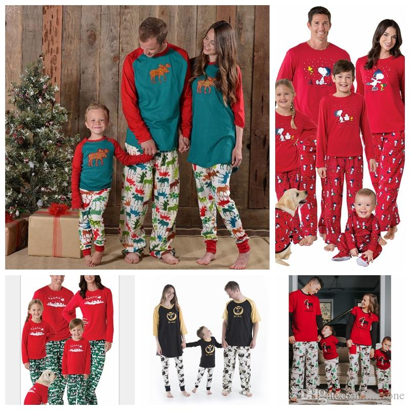 f218fa9ef4c 2019 Christmas Family Matching Christmas Reindeer Trees Pajamas Romper  Adults Baby Clothes Kids Sleepwear Nightwear Pjs Tracksuit Sleepsuit DHL F  From ...
