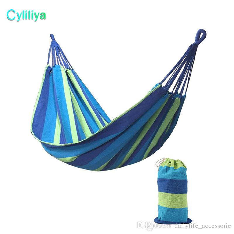 Amazing Portable 120 kg Load-bearing Garden Hammock Hang Bed Travel Camping Swing Survival Outdoor Sleeping Bags Canvas Stripe 190*80CM