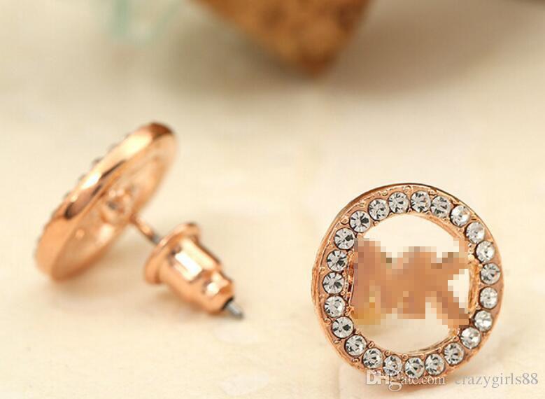 Luxo Clássico Vogue Carta de Strass Brinco de Ouro, Prata, Cor de Rosa de Ouro Rodada Ear Stud para Mulheres Senhora Menina Senhora Jóias
