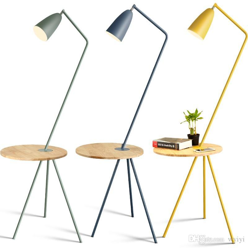 Nordic living room bedroom bedside study floor lamp color simple coffee  table Macarons Hotel wooden floor lamps 110v 220v