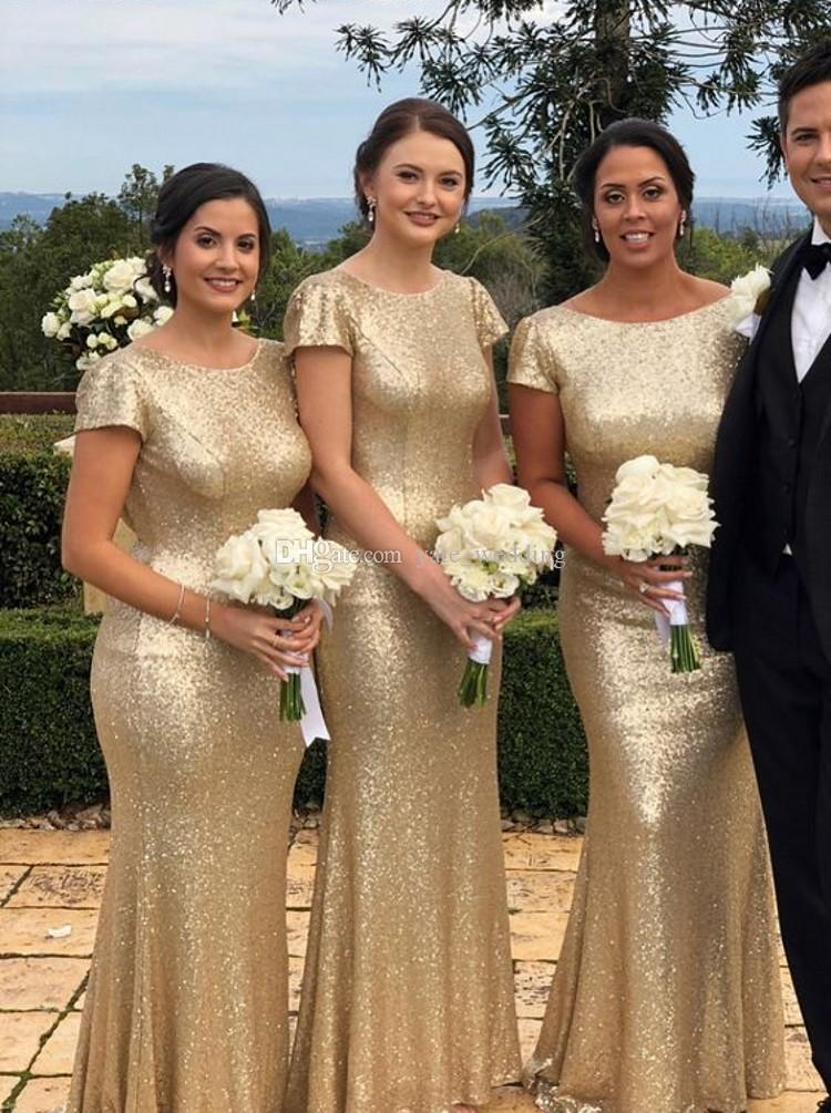 Gold Sequins Mermaid Bridesmaid Dresses Scoop Neck Cap Sleeves Backless Floor Length Champagne Rose Gold Evening Dresses Sweep Train