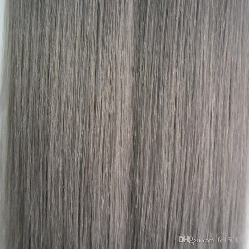 الشعر ملحقات رمادي الشعر 100 جرام 2.5 جرام / قطعة الشريط في الشعر التمديد الإنسان 40 قطعة / الحزمة سلس الشريط الجلد لحمة ملحقات