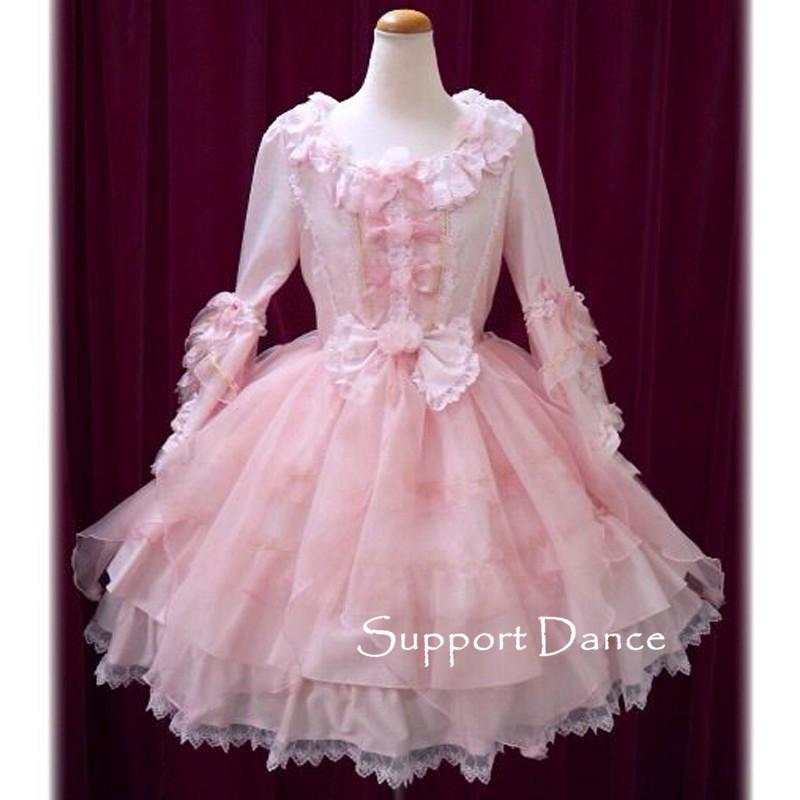 Long Sleeve Pink Lace Sweet Lolita Dress Custom Made Plus Size L43 ...