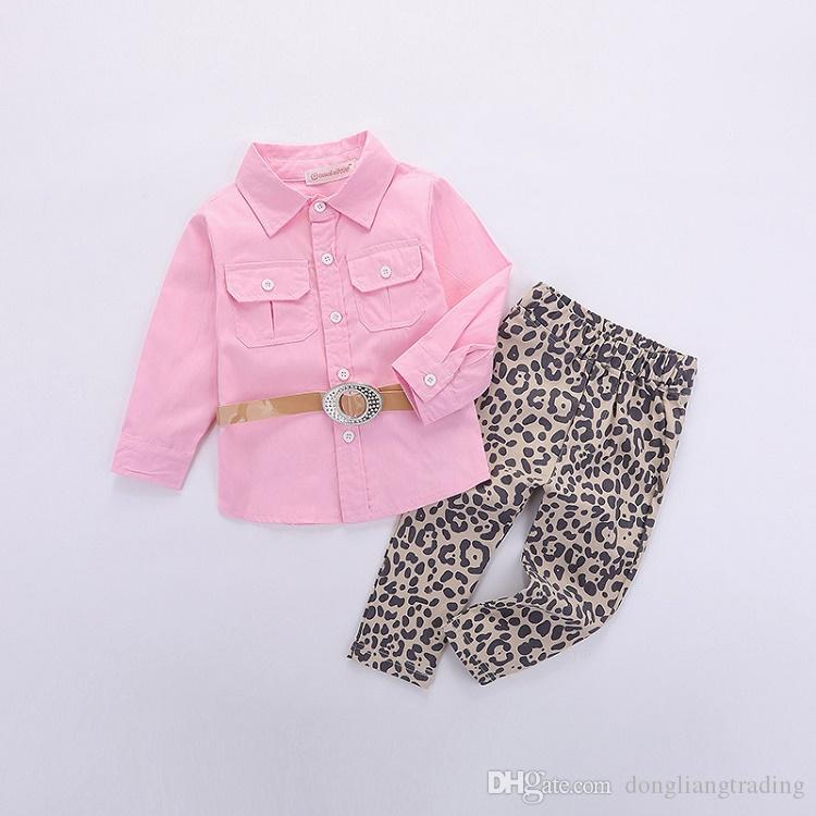 2018 Hot Sale Real Big Girls Sets Baby Girl Clothing Fashion Kids Pink  Shirts Tops+Leopard Print Pants + Belt Outfits Children Suits UK 2019 From  ... f8b8ebb19