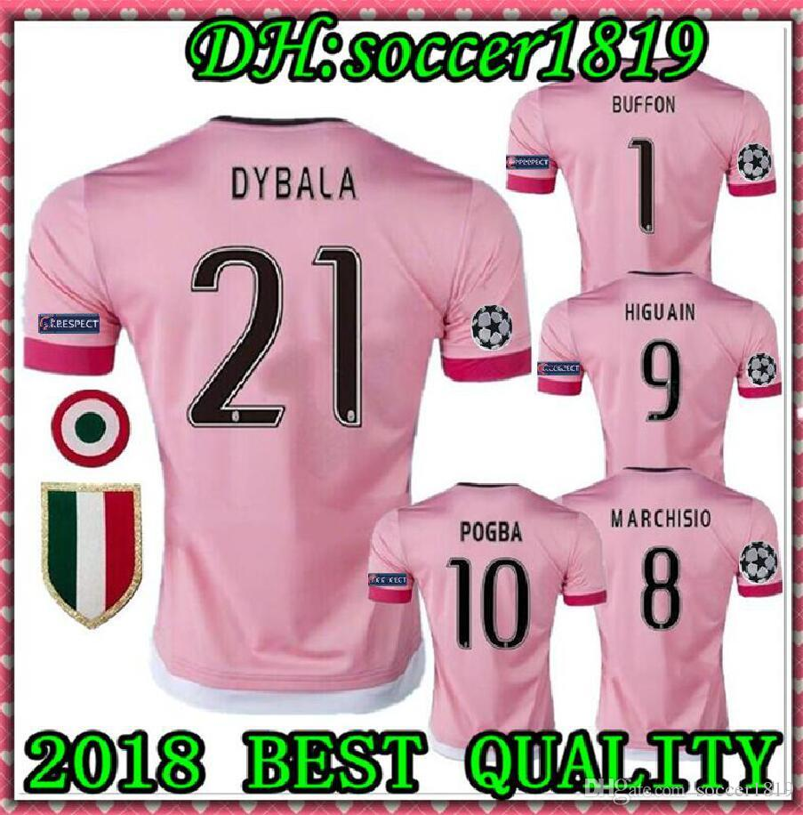 new product 3f842 bfd9b 2015 2016 BEST QUALITY Italy POGBA SOCCER JERSEYS 15 16 DYBALA MANEZUKIC  MORATA HIGUAIN MARCHISIO BUFFON Pink Blue MEN SOCCER FOOBALL SHIRT