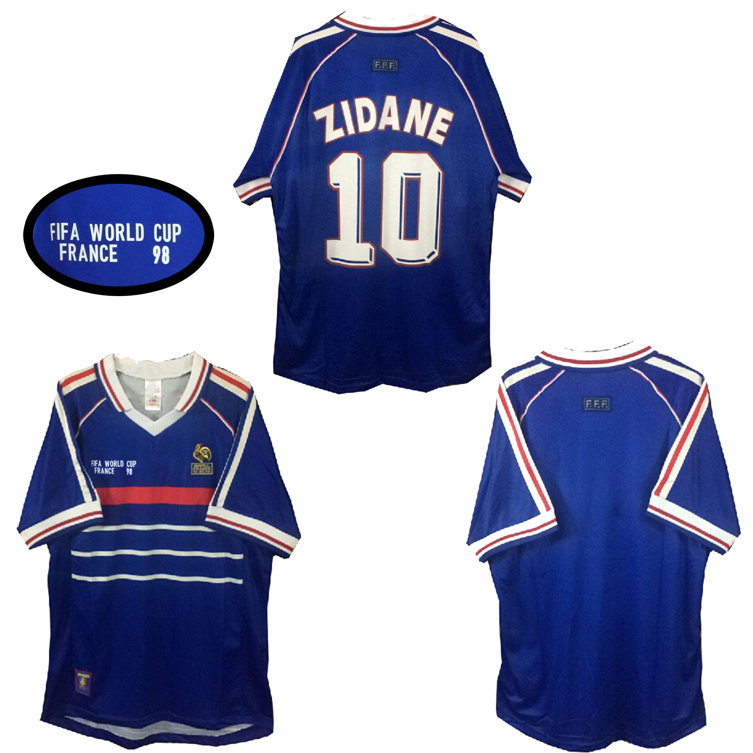 38f4e41ce 2019 1998 World Cu FRANCE Retro Soccer Jerseys Home 1998 Zidane Henry  Soccer Jerseys 1998 World Cu FRANCE Retro Football Shirts From Bao3667183
