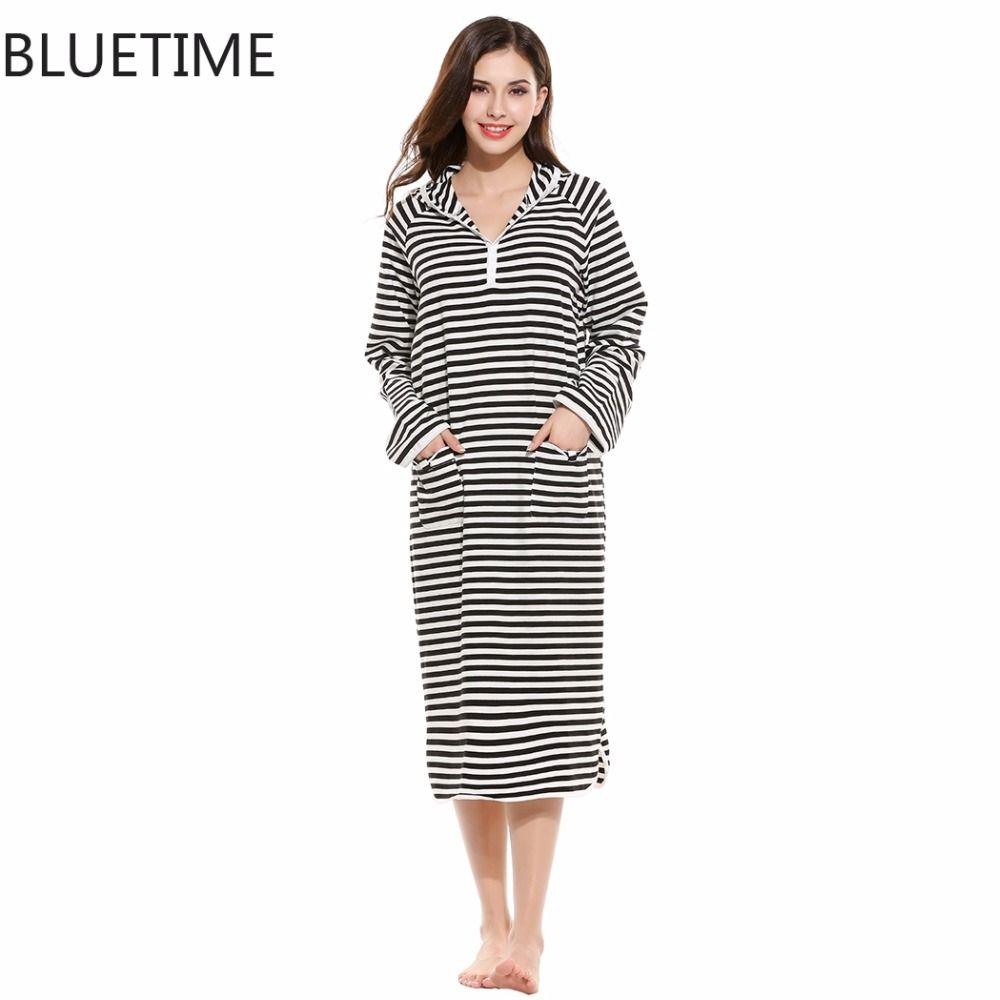 BLUETIME Striped Night Dress Hooded Long Sleeve Autumn Nightwear ...