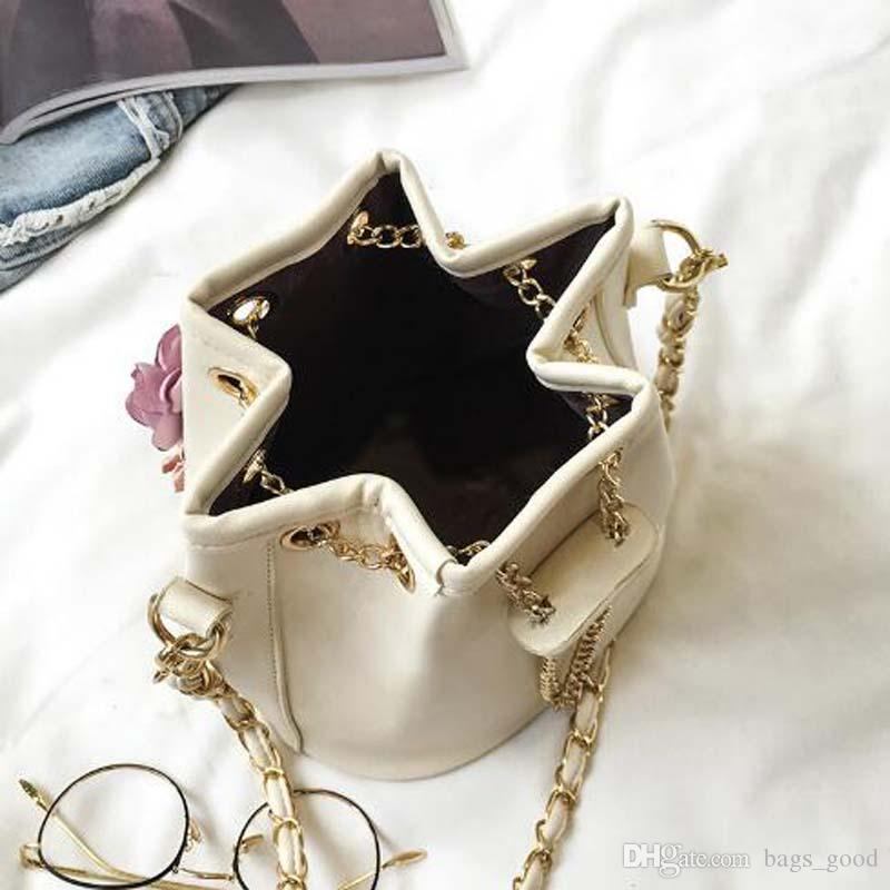Women Handmade Flowers Bucket Bags Mini Shoulder Bags With Chain Drawstring Small Cross Body Bags Pearl Leaves Decals