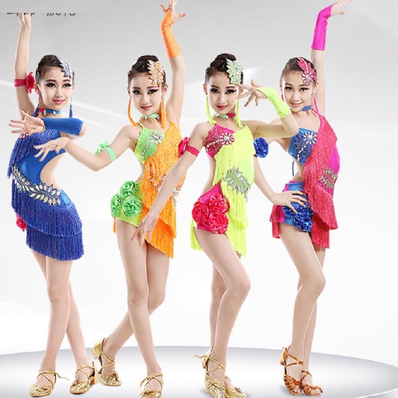 Compre Niño Niño Niños Traje De Baile Latino Profesional Para Niñas Trajes  De Flecos Para Niños Borla Junior Moderna Niña Salón De Baile Salsa A  31.9  Del ... 884774cd202