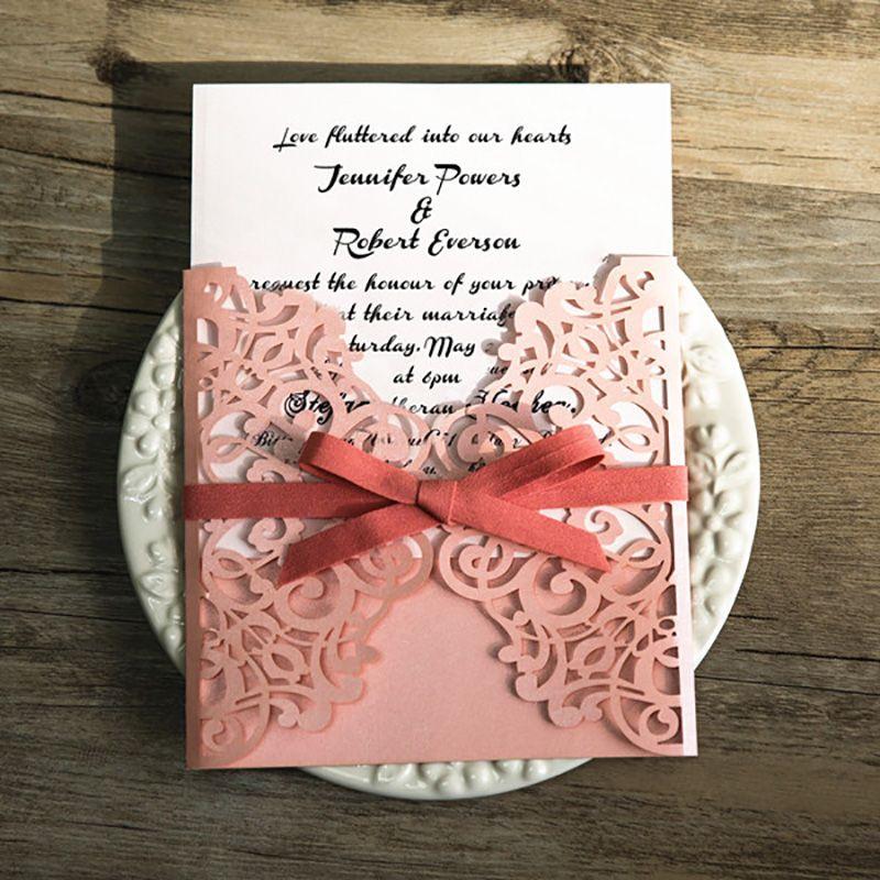 Pink Laser Cut Wedding Invitations Blank Print Elegant Fold Invitation Card Flower Customize Send Envelope Seal Cheap Wedding Invitation Kits Cheapest ...
