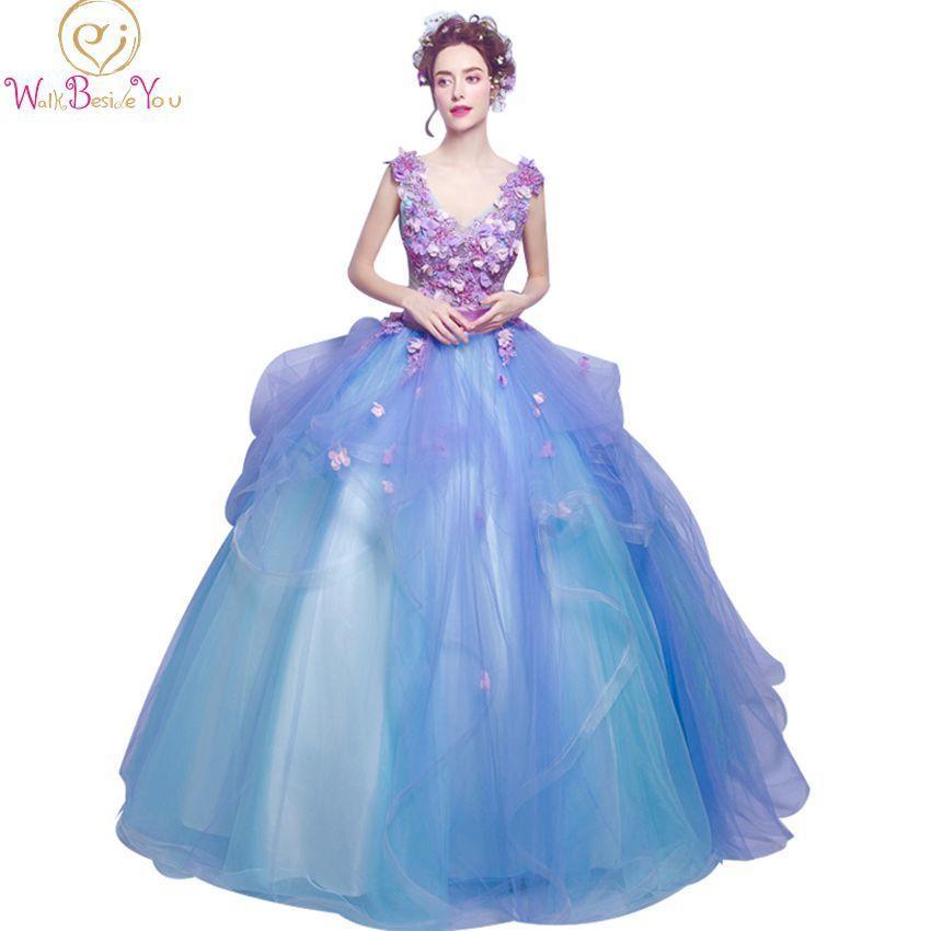 d37a9f50dd 2018 vestido de festa prom dresses long flowers purple blue evening gowns  belt lace beaded party formal gowns for graduation C18111601