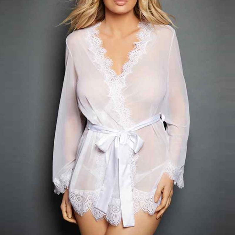 0884489678e 2019 Womens Sleepwear Set Eyelash Lace Robe Sheer Mesh Kimono Nightgown  Sexy Lingerie From Hannahao
