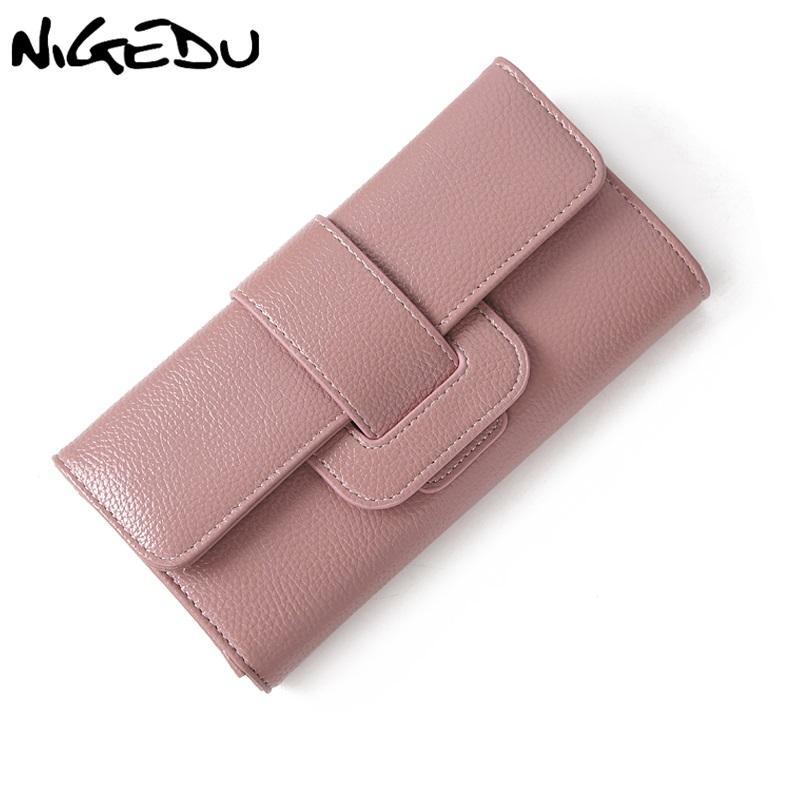 NIGEDU Brand Design Women Long Wallet Fashion PU Leather Wallets Female  Coin Zipper Clutch Purse For Girl Notecase Money Clip Wallet Wristlet  Italian ... 543cba61e284c