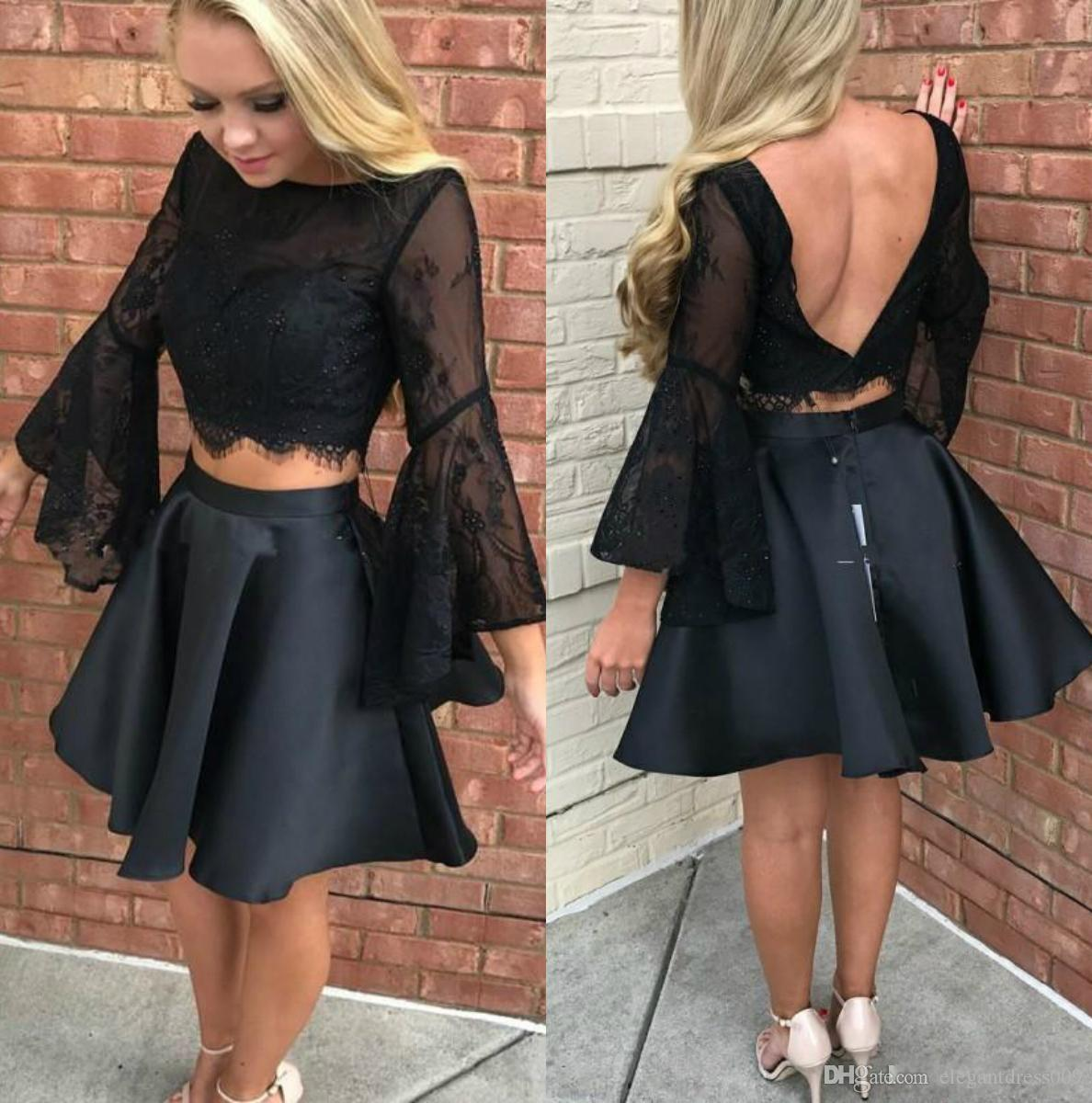 Sexy Black Two Piece Homecoming Dresses Long Bell Sleeves A Line Pleats Ruched Lace Short Party Cocktail Gowns Formal Dresses Custom Made