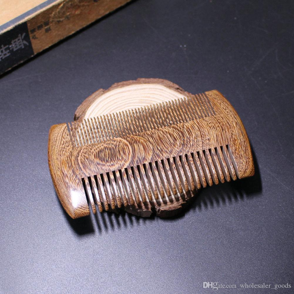 Peines de madera de sándalo verde bolsillo barba peines de doble cara artesanía tallada hermosa moda hecha a mano de madera natural peine
