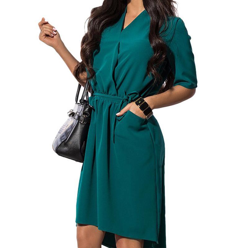 94eef3f082b5 Acquista Office Ladies Dress Donna Summer Midi Shirt Abiti Donna Mezza  Manica Con Scollo A V Tasche Sash Abbigliamento Da Lavoro Plus Size GV161 A   32.77 ...