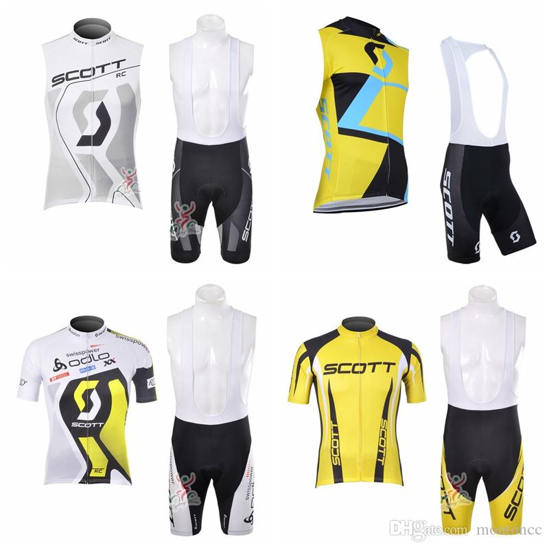 Pro Team SCOTT Team Cycling Short Sleeves Jersey Bib Shorts Sets Mens Quick  Dry Ropa Ciclismo MTB Clothes Racing Wear Sleevess Vest E60504 Womens Padded  ... dde79bb06