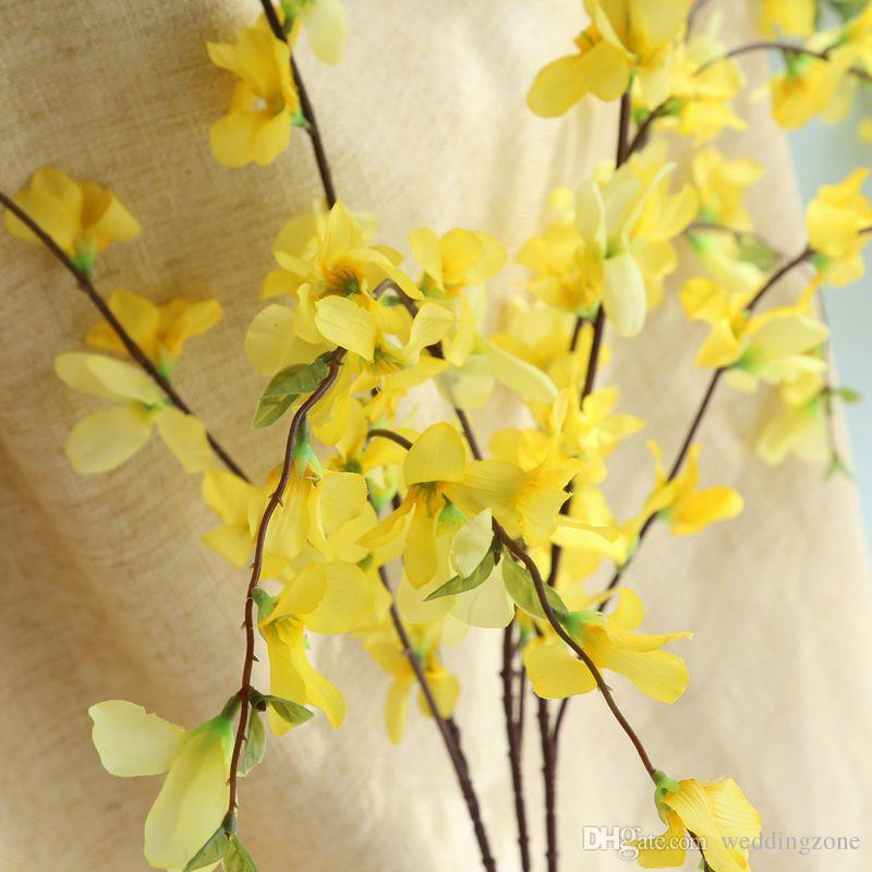 European Rural style Yellow silk Dancing Lady Orchid 104CM Artificial flowers Floor flower For Wedding/House decoration