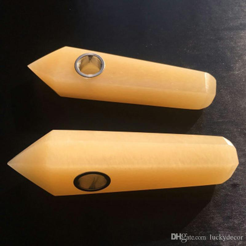 Amazing Yellow Jade Quartz Crystal Wand Stick Pipe Hand Made Single Terminated Gemstone Crystal Pencil Point Smoking Pipe for Tobacco