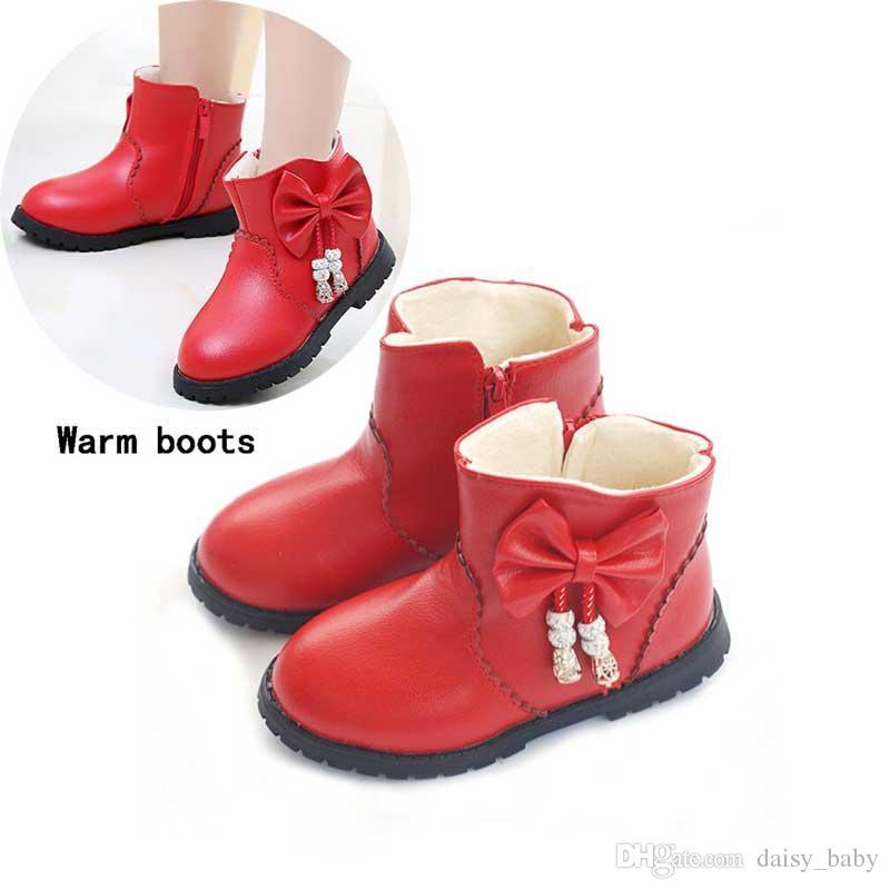 05a4e6d3b Children Waterproof Martin Boots Winter Snow Boots Kids Girl Bow ...