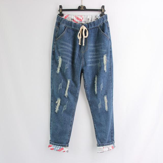 7aa2be547 2019 2018 Boyfriend Denim Jeans For Women Mid Waist Straight Pants Woman  Ladies Ripped Loose Mom Jeans Girls Jean Pants Plus Size From Netecool, ...