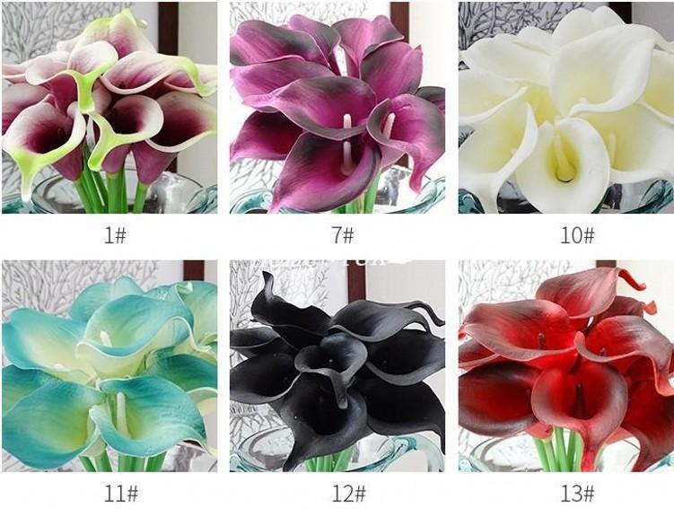 Оптовая продажа 100 шт. реальные сенсорные декоративные искусственные цветы Калла Лилия свадебный букет искусственные цветы невесты партия поставки 20 цветов