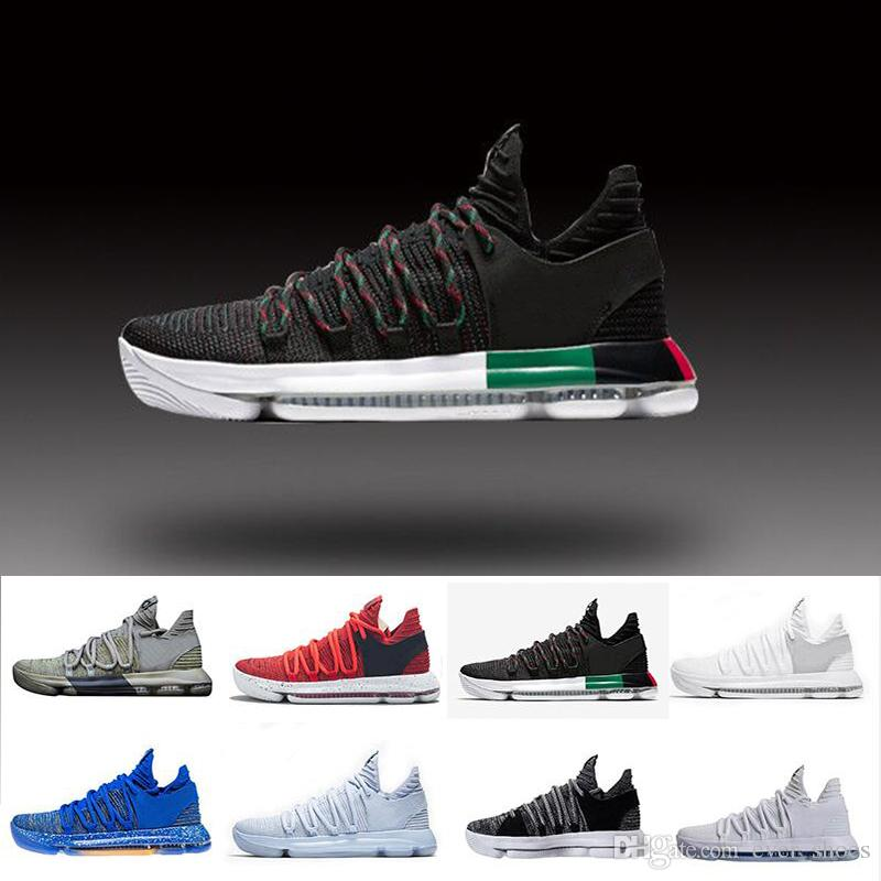 official photos 96e48 a50be Zoom KD 10 Anniversary PE BHM Red Oreo triple black Men Basketball Shoes KD  10 Elite Low Kevin Durant Athletic Sport Sneakers 7-12