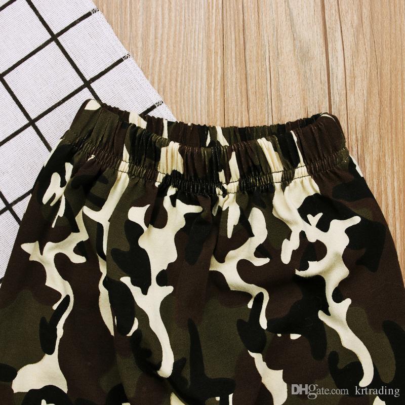 Crianças meninos Meninos roupas camo define preto do menino da mamãe impressão de manga comprida com capuz T shirt + camo verde calças roupas casuais para 1-5 T