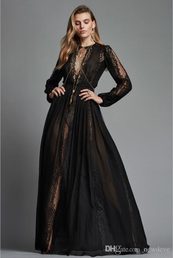 2018 Zuhair Murad Dress Black Evening Dresses Elegant Gowns Vestidos Lace Plus Size Long Sleeves Prom Dress