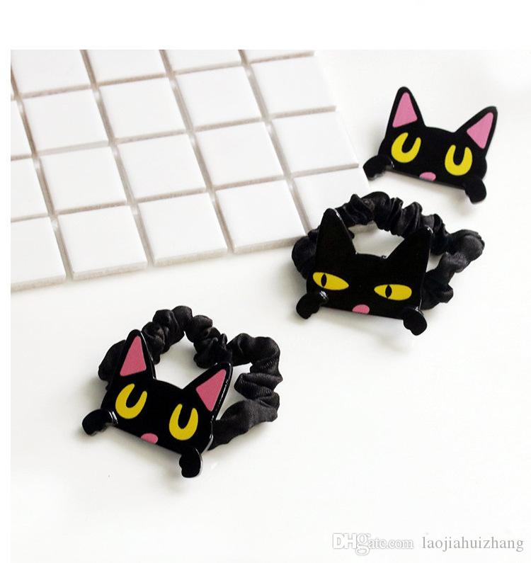 Europe and America Cartoon Excitation Cat Drape Rubber Bands Brooch Acrylic Black Pink Hair Clips Hair Care & Styling Tools Free-shipping