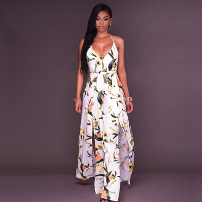 291ee361e6b 2019 2018 New BOHO Style Women Jumpsuits   Rompers Fashion Floral Print Sexy  Deep V Split Wide Leg Pants Ladies Backless Club Bandage Bodysuits From ...