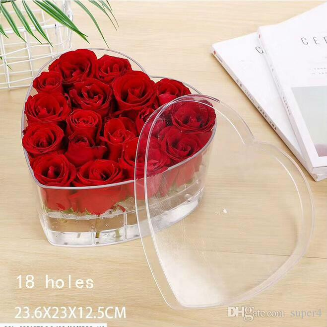 New Product Heart Shape Acrylic Rose Flower Box Makeup Organizer Cosmetic Tools Holder Flower Gift Box with Removable lid and Inner part