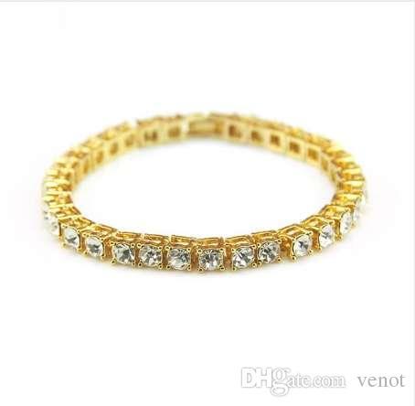 Hip Hop Bling Iced Out Cubic Zirconia Bracelet Tennis Chain ... d436cc984f24