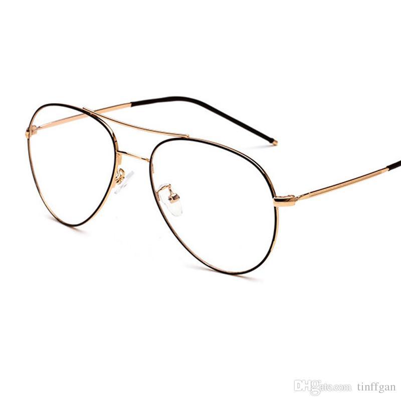Compre 2018 New Oval De Metal Grande Quadro De Armações De Óculos Das  Mulheres Dos Homens Espelho Óptico Simples Lentes Enormes Óculos De Armação  Para ... 1c4133f6f4