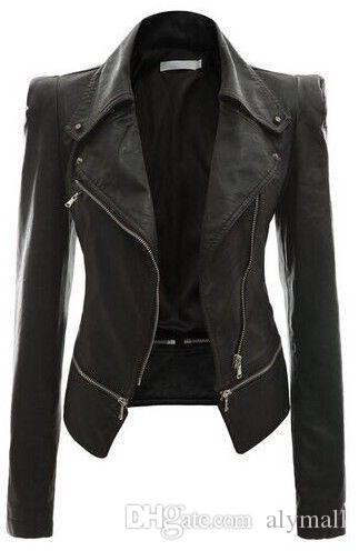 Ladies Women's Faux Leather Shoulder Lapel Collar Coat Jacket Stylish Korean Short Motorcycle