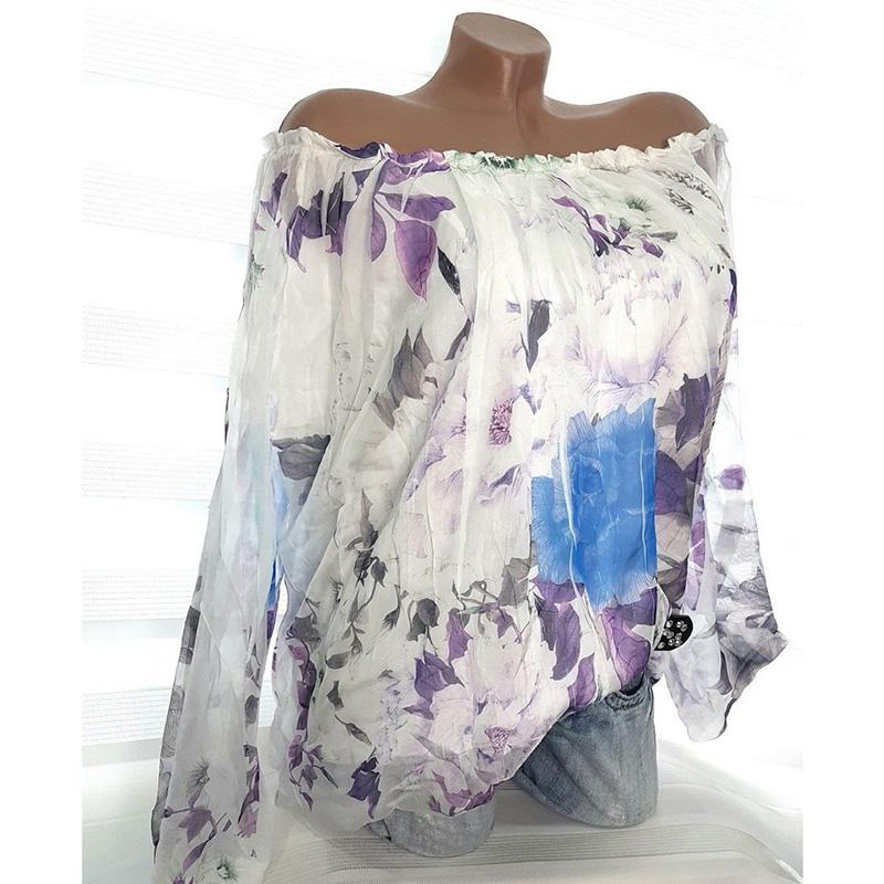 20ed78b632e 2019 Sexy Women Floral Print Blouse Off The Shoulder Blusas Mujer De Moda  2018 Sheer Long Sleeve Loose Plus Size Shirt Ladies Tops From Seein
