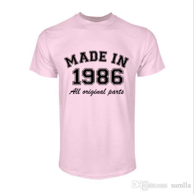Fashion Made in 1986 all original Parts Man T-Shirt Cotton O Neck T Shirt Mens Short Sleeve Mens tshirt Male Tops Tees