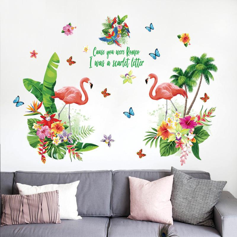 Romantic Love Red Flamingo Wall Stickers Tropical Green Leaf Flowers ...