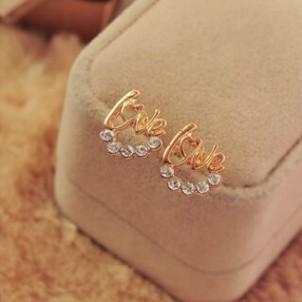 Kulak Çıtçıt Kızlar / Bayanlar AŞK Altın / Gümüş Ton Rhinestone Dekore Saplama Küpe