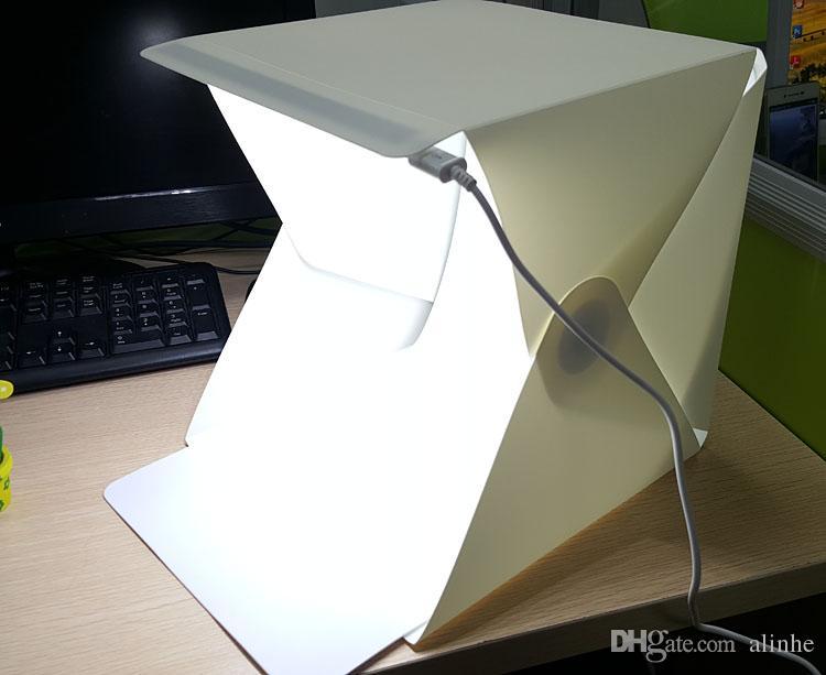 Mini portátil plegable Photo Studio Box Fotografía Telón de fondo luz incorporada Fotografía de fondo Telón de fondo DHL envío gratis