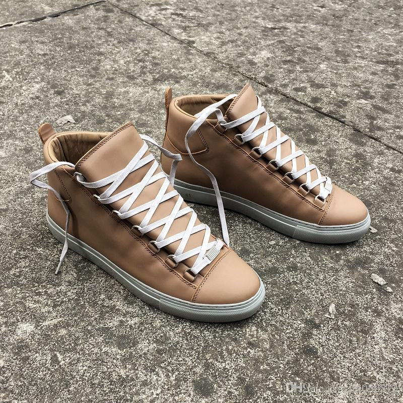 03faf92b3c4749 Elegant Red Bottom Shoes High Top Men Trainers Brown Patent Leather ...