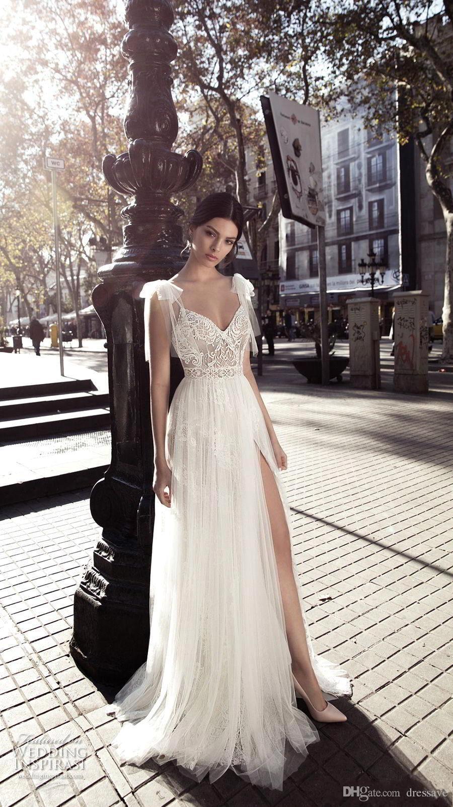 Dos nu plage robes de mariée fendue 2018 Sweetheart manches bouchées dentelle Vintage Boho robe de mariée une ligne robe de mariée vintage