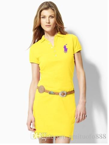 4ea98796ce728 Compre Frete Grátis 2018 Hot Marca De Moda Feminina Polo Vestidos De ...