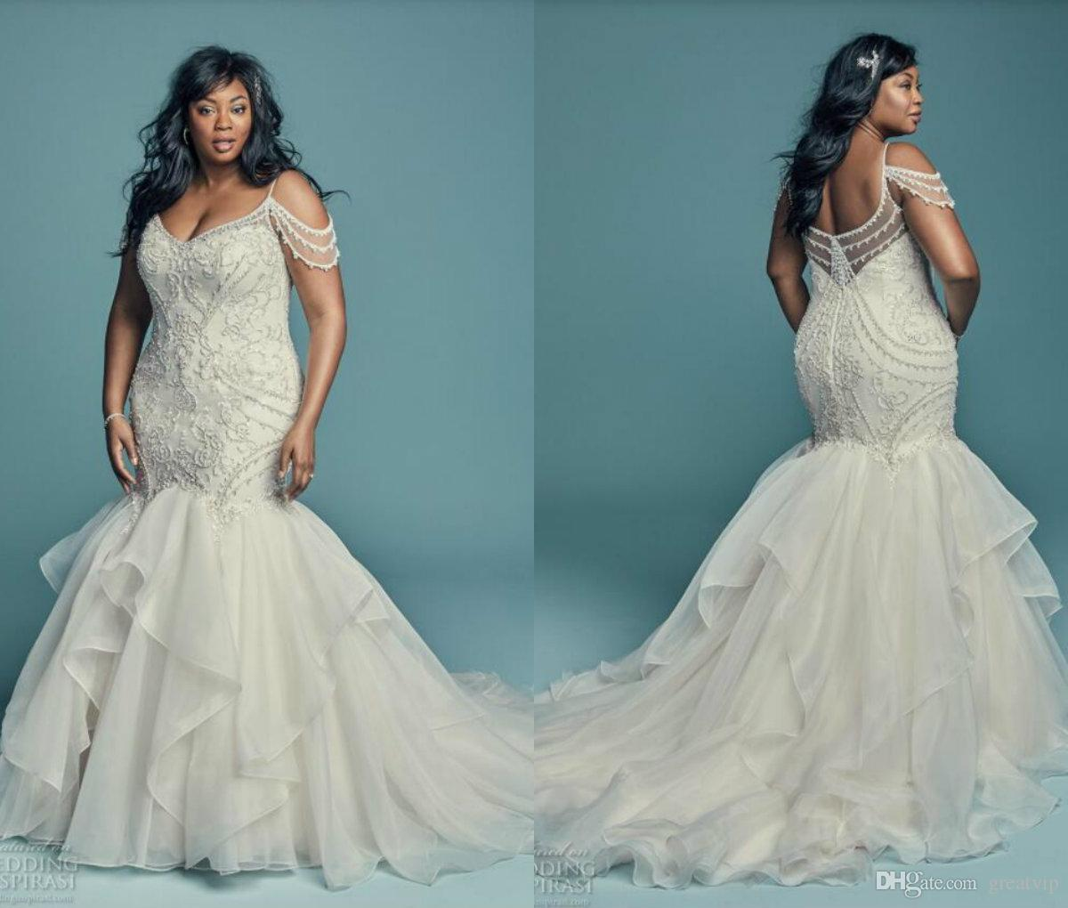 African Plus Size Wedding Dresses Spaghetti Straps Lace Appliques ...