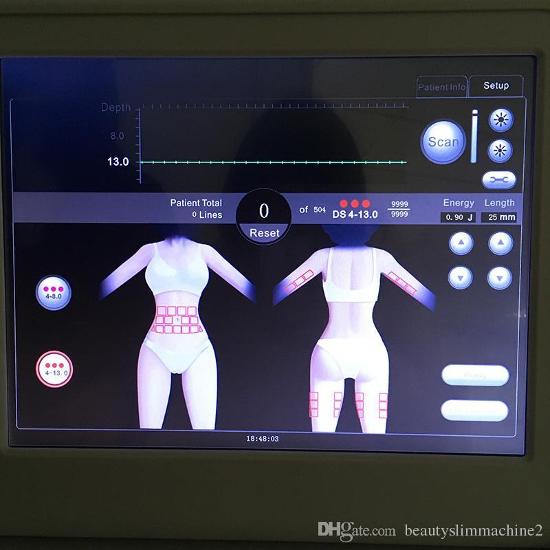 Máquina de beleza de levantamento facial de HIFU para o corpo da cara antienvelhecimento Cartuchos de remoção ultra-sônicos do envelhecimento do salão de beleza do emagrecimento 3 ou 5