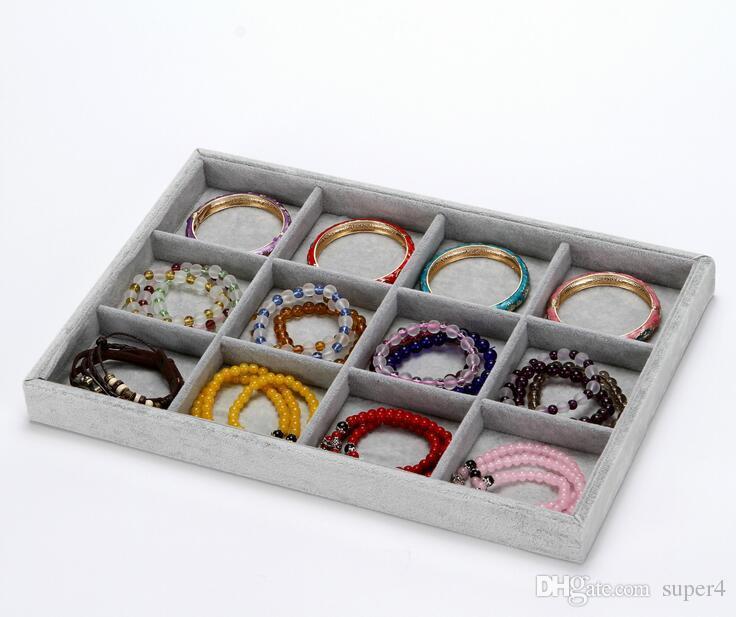 High Quality Velvet Jewelry Tray Jewelry Display Holder Bracelet Ring Earring Jade Pendant Box Case Jewelry Storage Organizer