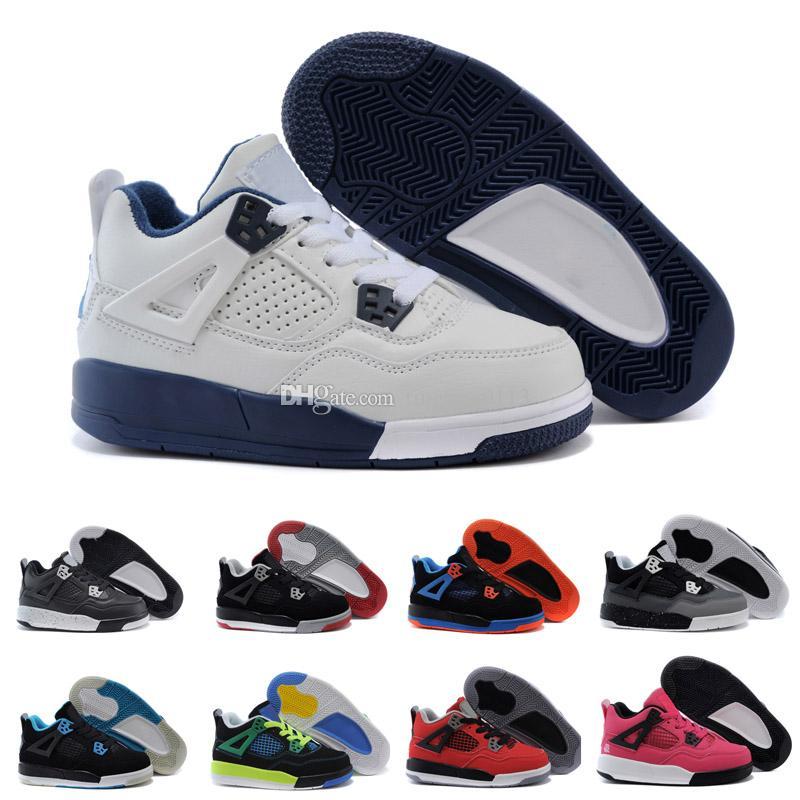 info for bb4d8 ce9ee Compre 2018 Nike Air Jordan 4 13 Retro 4 S OG Preto Gato Sapatos De Basquete  Refletem Para Crianças Meninos Meninas De Treinamento De Esportes Tênis De  Alta ...