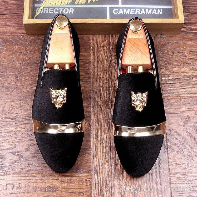 Yeni Moda Altın Üst ve Metal Ayak Erkekler Kadife Elbise ayakkabı İtalyan mens elbise ayakkabı El Yapımı Loafer'lar artı boyutu 38-44 a27