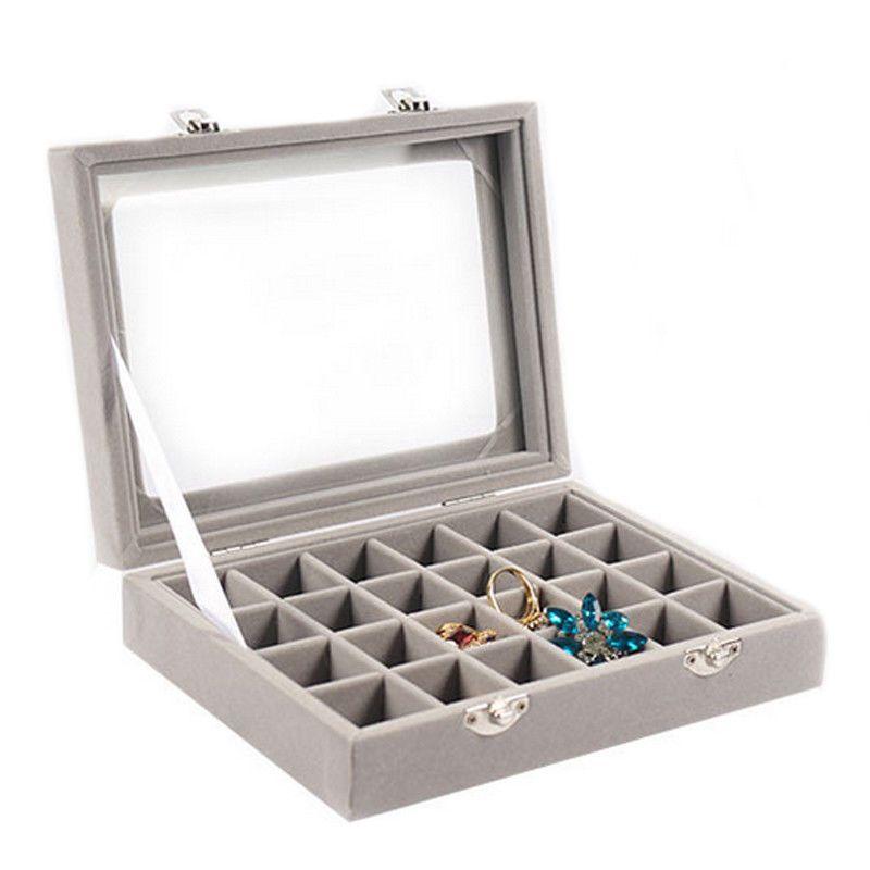 Velvet Glass Jewelry Display Box 20*15*4.5cm Jewelry Tray Holder Casket Storage Organizer 2017 Earrings Ring Box in Gray Grey